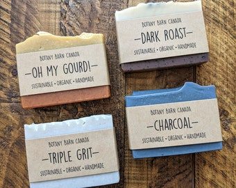 Exfoliating Organic Soap - Natural, Handmade, and Palm Oil Free Scrubby Soap; Pumice, Clay, Coffee & Charcoal Soaps, Sustainable Skincare