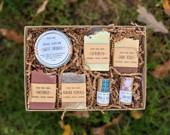 Organic Bath & Body Gift Set, Personalized Luxury Bath Gift, Sustainable Gift for Her, Handmade Soap, Organic Lotion, Eco Friendly Lip Balm