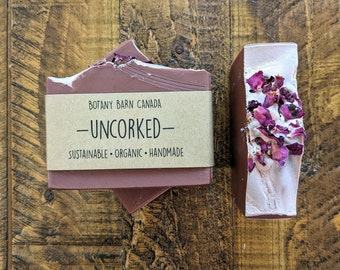 Uncorked - Floral Red Wine Soap, Self-Love Gift, Wine Lover Gift, Organic Handmade Soap, Palm Free Soap, Gift for Mom, Eco-Friendly Gift