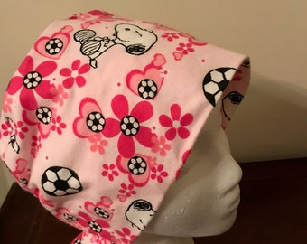 Women's Pixie Surgical Scrub Hat - Snoopy with Soccer Balls Flannel