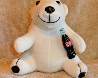 aa23b789fd1 Coca Cola Polar Bear Plush Stuffed Animal 1998 7.75
