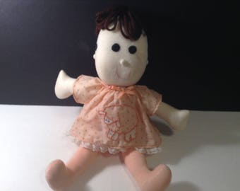 """4 Faced Doll Plush Expressions Cries Happy Sleeping Half Smile 16"""" tall"""