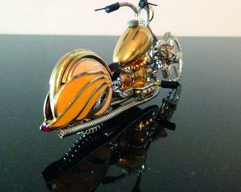 Steampunk motorcycle. Mellow Yellow