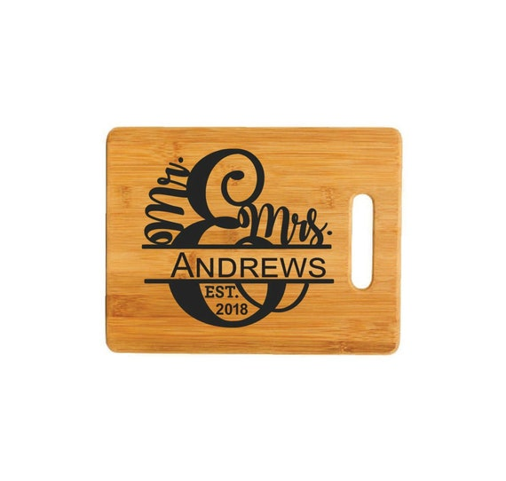 Personalised option available.164 2 sizes available Mr and Mrs Wedding Bells Bamboo chopping board cutting board