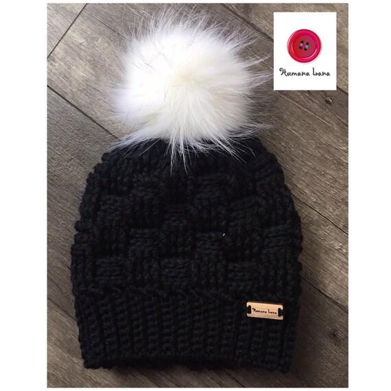 969679bdb9c0 Tuque bonnet avec pompon de fausse fourrure   Etsy