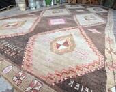 Turkish Vintage rug, Carpet Vintage, 7'3x15'4 ft, Anatolian Oushak Carpet, Oversized Rug, Large size rug, Decorative rug, Home decor, Rugs
