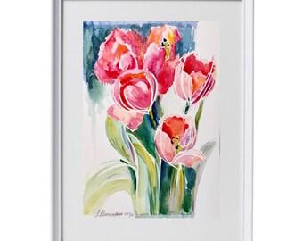 Watercolor Tulips Painting Flowers, Watercolor Flowers, Abstract Watercolor Painting, Abstract Wall Art, Floral Painting Bouquet Aquarel