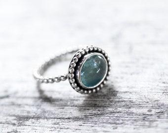Aquamarine Beaded Single Ring- Size 6