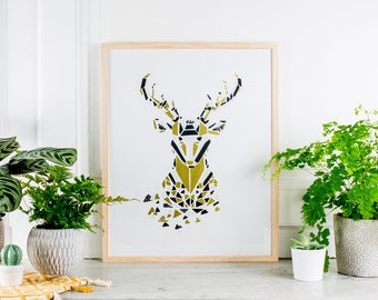 Screen 40x50cm - Zoorigami deer - white poster