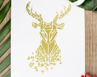 21x30cm - deer Zoorigami silkscreen poster