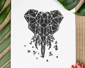 21x30cm - Elephant Zoorigami silkscreen poster