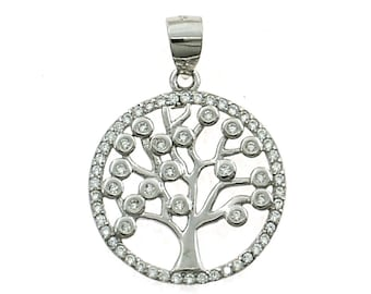 Tree of Life pendant surrounded by white cubic zirconia size 20mm 925 sterling silver plated white gold hypoallergenic