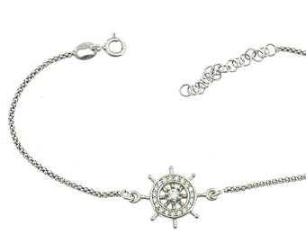 Korean bracelet with silver zirconateed rudder 925 sterling allergenic white gold plated length 17 adjustable to 20 cm