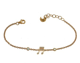 Bracelet with 2 light points and musical note zirconata in silver 925 sterling allergenic gold plated rose length 17 adjustable to 19 cm