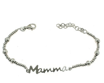 Bracelet with hammered balls and mom in silver 925 sterling allergenic white gold plated length adjustable from 17 to 20 cm