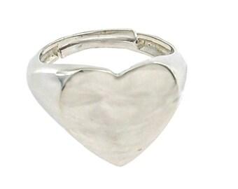 d405e69bfdbd05 Anello mignolo regolabile scudo cuore placcato oro bianco in argento 925  sterling anallergico