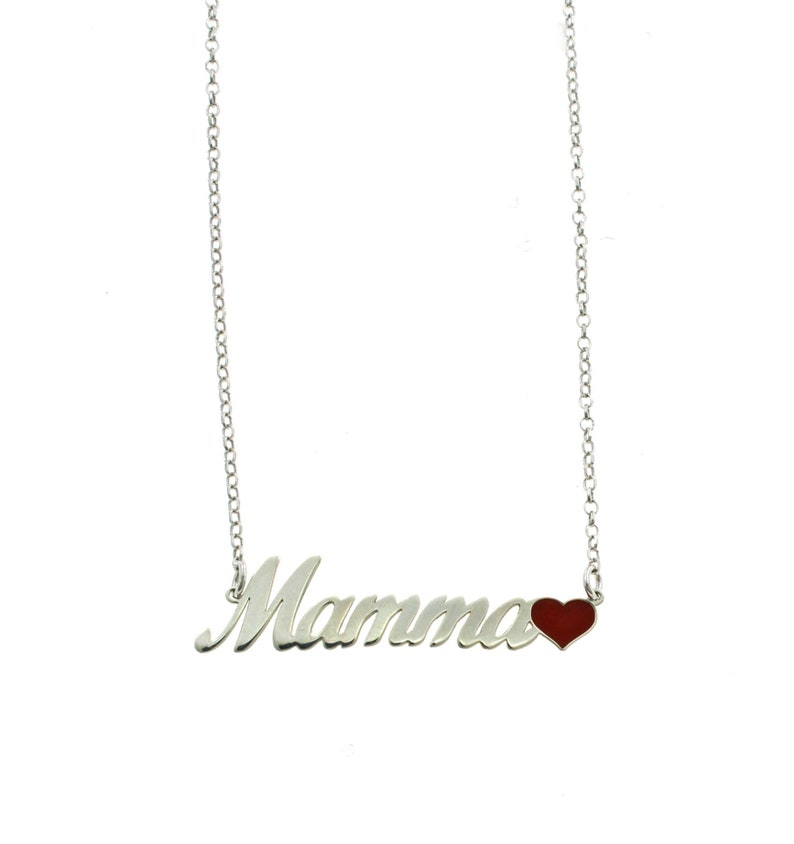 Rolo shirt necklace with Mamma inscription in a slab with red enamelled heart final in silver 925 plated white gold