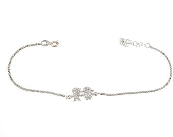 Korean bracelet with children zirconati in silver 925 sterling allergenic white gold plated length 17 adjustable to 20 cm