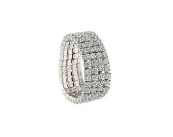 4-band Ring soft zirconate in sterling silver 925 white gold plated hypoallergenic