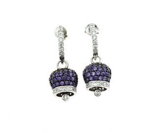 Earrings pendant bell purple zirconata 925 silver plated white gold diameter 10 x 8 mm butterfly Closure length 2 cm