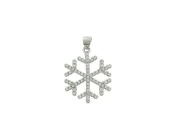 Pendant white zircon snowflake 925 sterling silver hypoallergenic size 2.5 cm