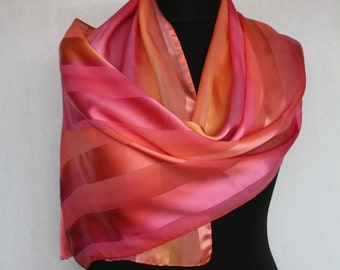 Silk scarf with woven satin stripe, 150 x 45 cm, handpainted in warm pink shades (L-0026)