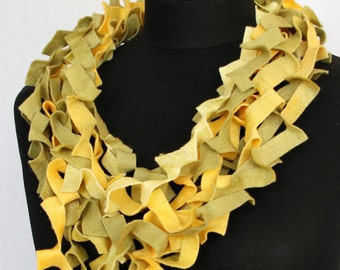 Necklace scarf, made of handmade sheet felt (wool/viscose) in yellow and olive green (KS-023)