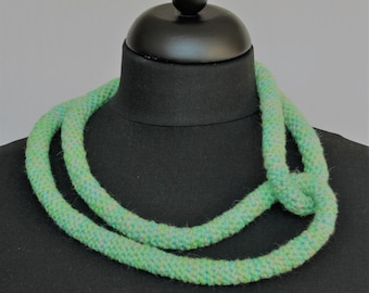Necklace, crocheted from wool, linen and cotton in green, turquoise and taupe (C-015)