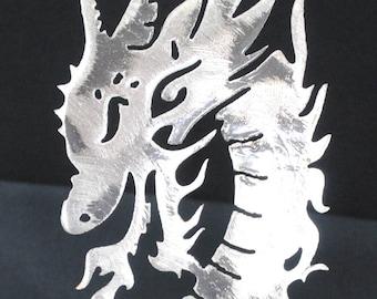 Dragon Snake, Dragon Metal Wall Art, Heat Treated, Fire Breathing Dragon, Dragon Metal Art, Metal Fantasy Decor, Gift For Him, Gift for Her