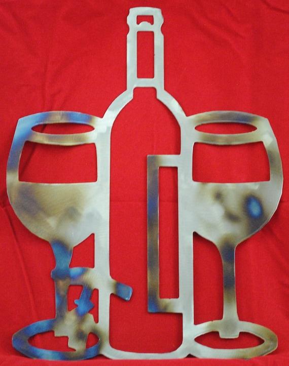 Wine Bottle & 2 Wine Glasses, Metal Wine Bottle Art, Metal Wine Glasses Art, Romantic Metal Wall Art, Wedding Gift, House Warming Gift,