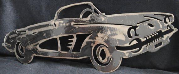 1958 Chevy Corvette 12, Metal Car Art, Wall Art, Collectors Automobile, Auto Memorabilia, Home Decor, Office Decor, Man Cave, Automotive Art