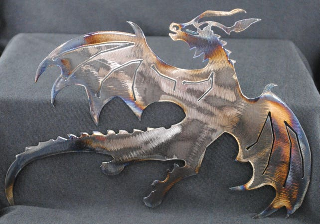Dragon Flying Dragon Metal Dragon Wall Art Fantasy Metal | Etsy