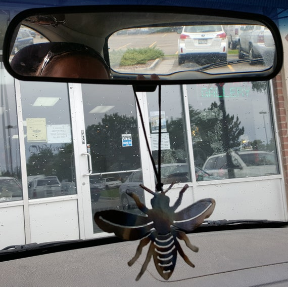 Flat Bee Review Mirror Decoration, Metal Bees, Insect Ornament, Bug Ornament, Car Mirror Charms, Rear View Mirror Bee Charm, Car Mirror