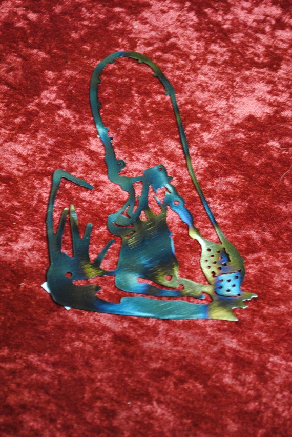 Mini Fisherman in Pond, Metal Art, Fisherman, Gift for Him, Gift for Dad, Fathers Day Gift, Fisherman Gift, Fishing