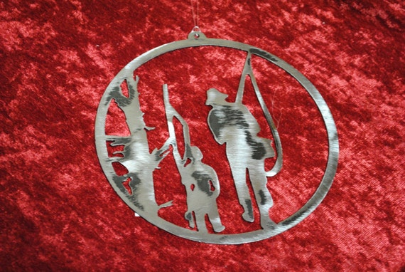 Fisherman and Son Round, Fisherman, Fishing, Fisherman Metal Art, Wall Art, Father's Day Gift, Gift For Dad, Gift for Him, Fisherman Gift