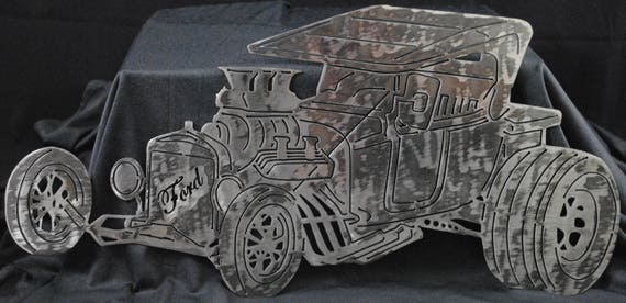 Ford T Bucket Hot Rod, Ford Model T, Lightning Bug, 1927 Memorabilia, Man Cave, Gift for Him, Gift for Her, Metal Wall Art, Automotive Art
