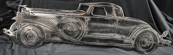 1929 Model J Convertible Duesenberg Roadster, Luxury Automobile, 1927 Memorabilia, Duesenberg, Metal Duesenberg, Metal Art, Automotive Art
