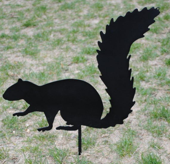 Squirrel Garden Decoration, Metal Squirrel, Squirrel Silhouette, Metal Garden Decor, Garden Silhouette, Spring Decor, Outdoor Metal Yard Art