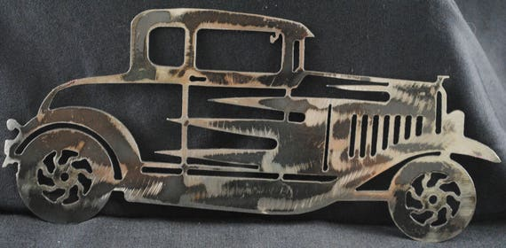 "1932 Ford 5 Window Coupe 12"", Metal Car Art, Wall Art, Collectors Car, Car Memorabilia, Home Decor, Office Decor, Man Cave, Automotive Art"