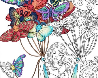 Adult Coloring Page Fantasy Butterfly Moths