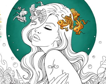 Adult Coloring Page Pisces Line Art