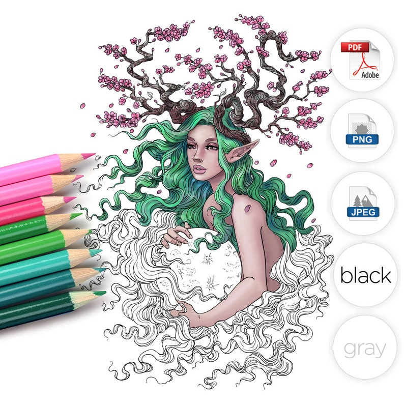Adult Coloring Page Fantasy Cherry Blossom Tree image 0