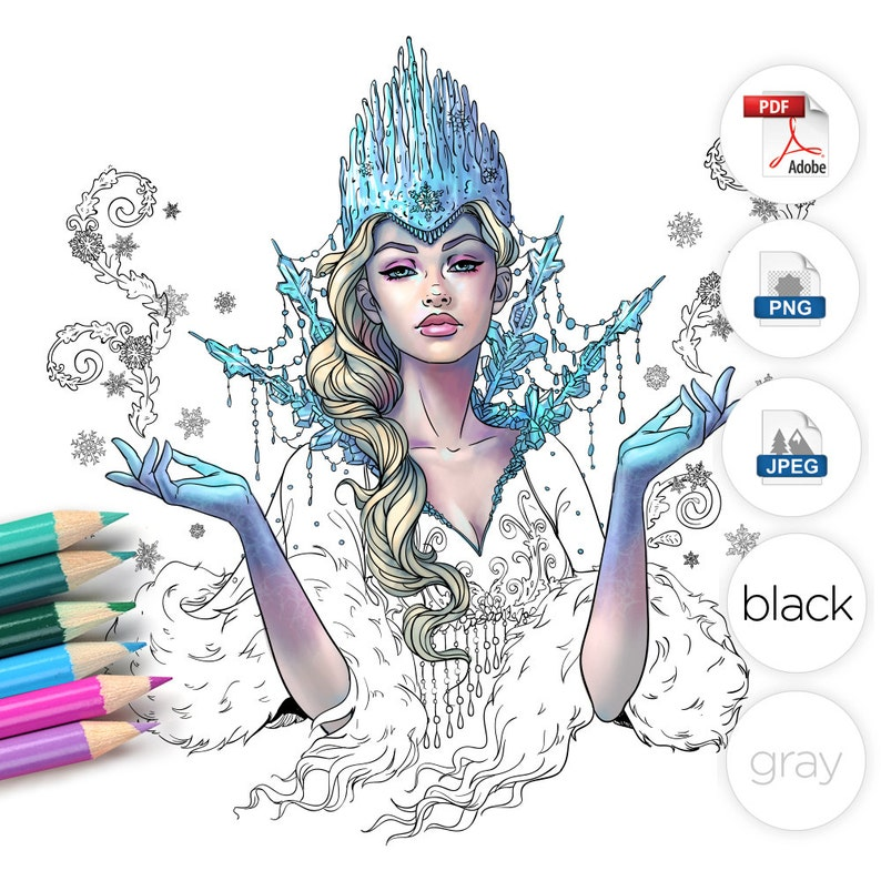 Snow Queen Adult Coloring Page Fantasy Line Art image 0