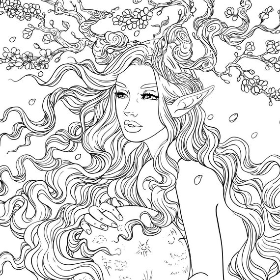 Adult Coloring Page Fantasy Cherry Blossom Tree