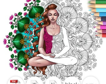 Adult Coloring Page Mandala Girl
