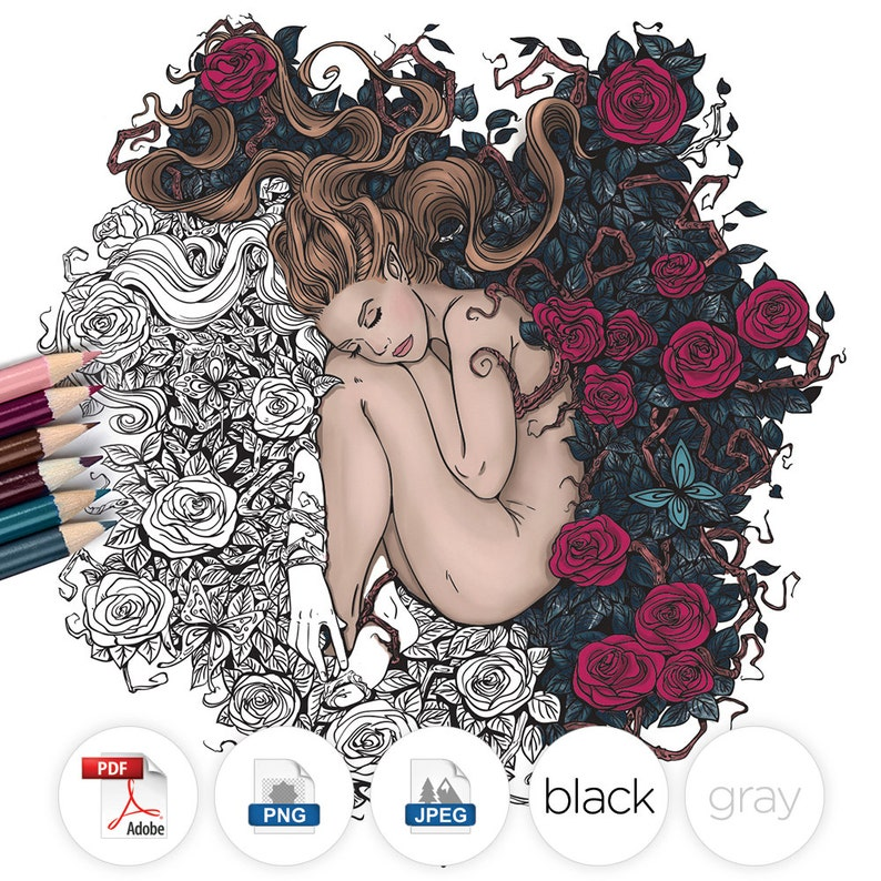 Adult Coloring Page Fantasy Girl Roses Line Art image 0