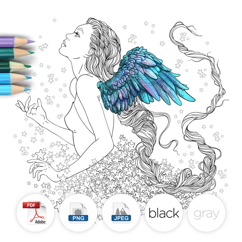 Adult Coloring Page Fantasy Girl Angel Line Art image 0