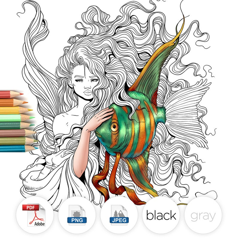Adult Coloring Page Fantasy Mermaid and Fish Line Art image 0