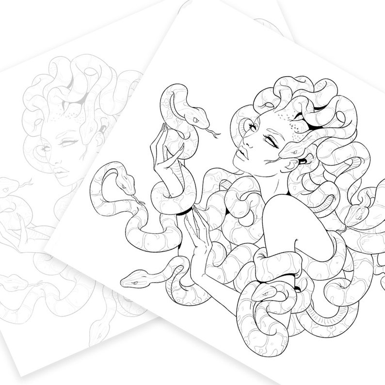 Adult Coloring Page Medusa | Etsy