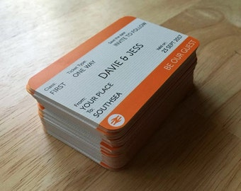 CUSTOM Train Ticket Save The Date Wedding Card (File - DIY Printing)